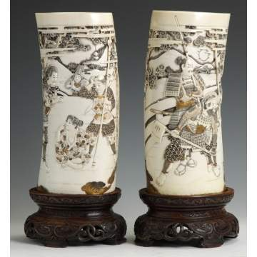 A Pair of Fine, Carved & Gilded Japanese Ivory Tusks