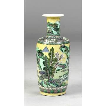 Chinese Famille Yellow Ground Vase