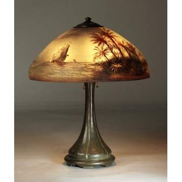 Handel Treasure Island Reverse Painted Lamp