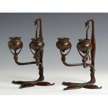 Fine Pair of Bronze Signed Tiffany Studios Two-light Candlesticks NY 1232