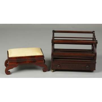 Empire Foot Stool & Mahogany Canterbury