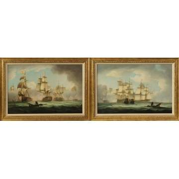 "A Pair of Thomas Buttersworth (British, 1768-1842) ""English & French Man O' War Ships Engaged in Combat"""