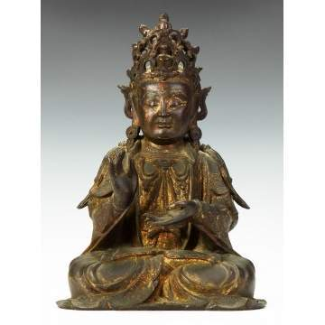 An Early Chinese Bronze Seated Figure of Buddha