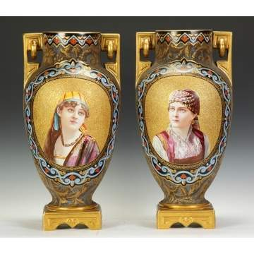 A Large Pair of Coralene & Enameled Portrait Vases