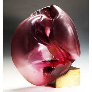 Dana Vachtova (Czechoslovakia) Large Pink Kidney Glass Sculpture