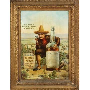 "Rare Tin Lithograph Old Forester Whiskey Sign: ""Guarding a Good Thing in Arizona"""
