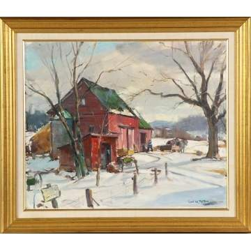 "Carl William Peters (American, 1897-1980) ""The Red Barn in Fairport"""