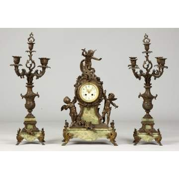 3-Pc. French Patinated Metal & Onyx Clock Set w/cherubs