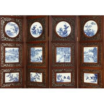 Chinese 8-Panel Screen w/Pierce Carved Hardwood & Porcelain Plaques