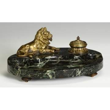 Sgn. Marble & Bronze Inkwell w/Lion