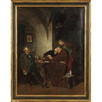 Eduard von Grützner (German, 1846-1925) Card game w/Friar