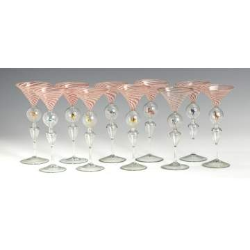 Group of 10 Pink Stemware Glasses w/Lampwork Animals
