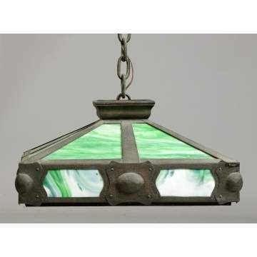 Arts & Crafts Hammered Metal & Slag Glass Hanging Lamp