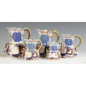 Davenport Ironstone Graduated Decorated Pitchers