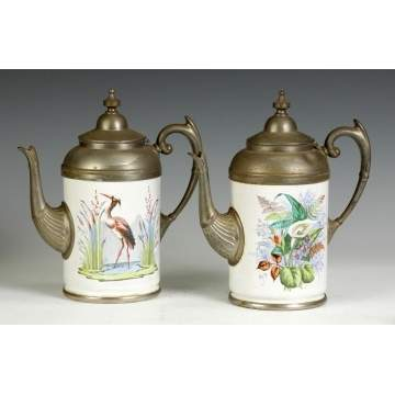 2 Victorian Enameled & Pewter Coffee Pots