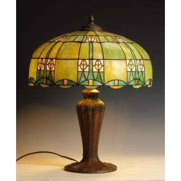 Early 20th Cent. Arts & Crafts Leaded Glass Table Lamp