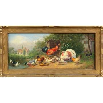 Gustav Mesmer (German, 1865-?) Barnyard animal scene