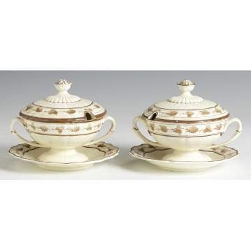 Early 19th Cent. Wedgwood Sauce Tureens w/Under trays