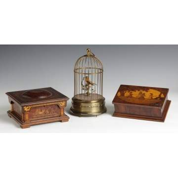 Jewelry Casket, Singing Bird Cage & Trinket Box