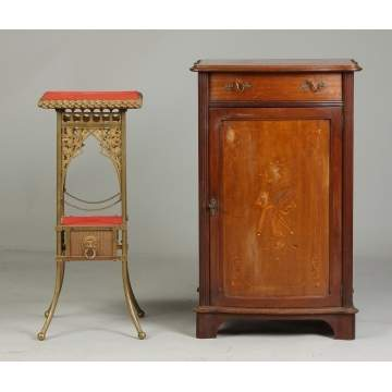 Victorian Plant Stand & Horner Cabinet