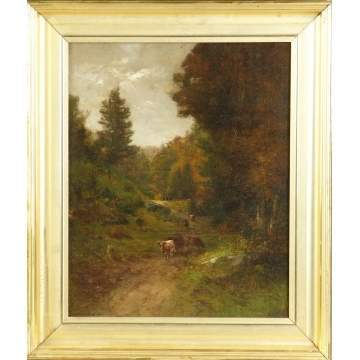 Roswell Morse Shurtleff  (New Hampshire, 1838-1915) Forest trail w/cows