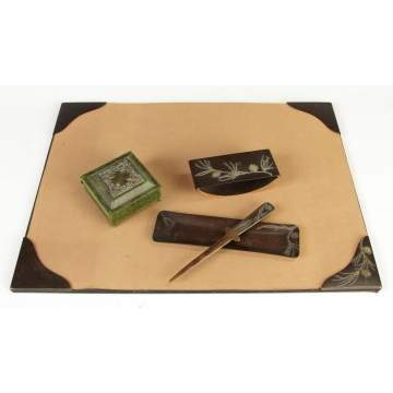 Heintz Art Copper w/Silver Overlay Desk Set