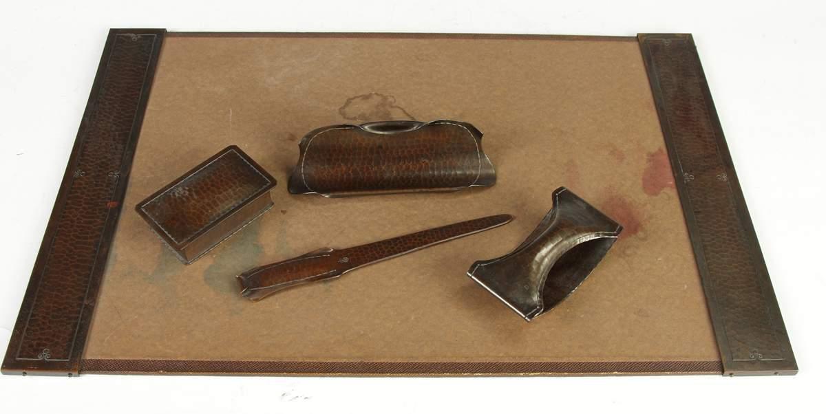 5 Pc Roycroft Hammered Copper Desk Set