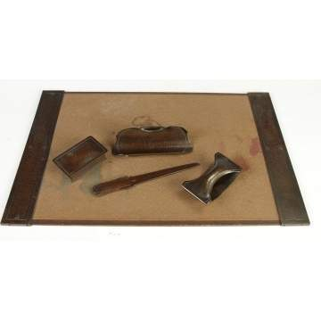 5 Pc. Roycroft Hammered Copper Desk Set