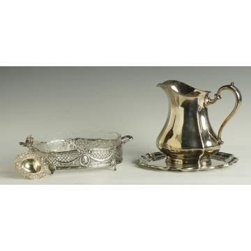 Silver Tea Strainer, Center Dish, Water Pitcher, Tray