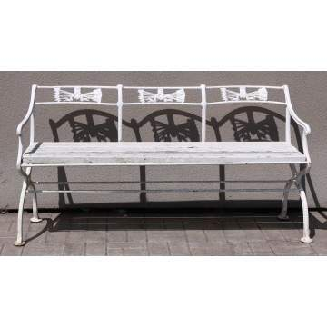 Matching Pair of Cast Iron Benches & 4 Arm Chairs