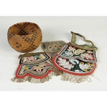 Navajo Basket together w/3 Iroquois Bags