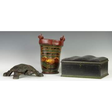 Spittoon, Fire Bucket & Sewing Box