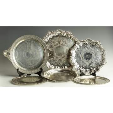 Group of 6 Silver Plate Trays