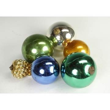 6 Blown Glass German Christmas Ornaments