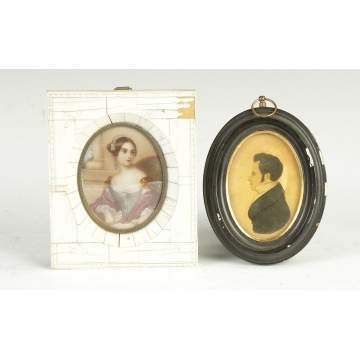 19th Cent. Miniature on Ivory & Silhouette