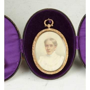Miniature on Ivory in Gold Frame