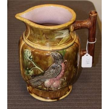 Majolica Pitcher w/bird