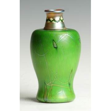 Fine & Rare Green Steuben Aurene Decorated Vase
