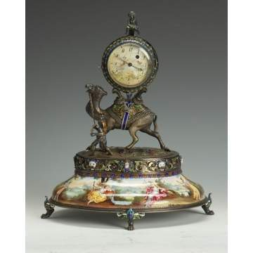 Viennese Silver & Enamel Camel-Form Table Clock