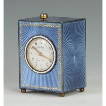 A Fine Cartier Blue Guilloche Clock