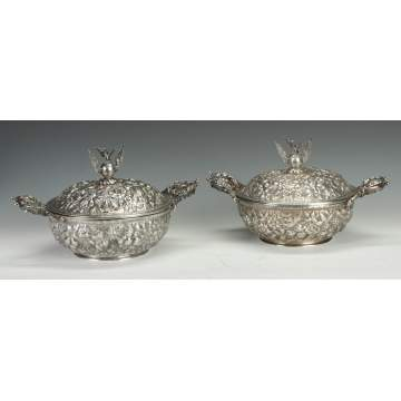 A Fine Pair of S. Kirk & Sons Heavy Repousse Vegetable Dishes