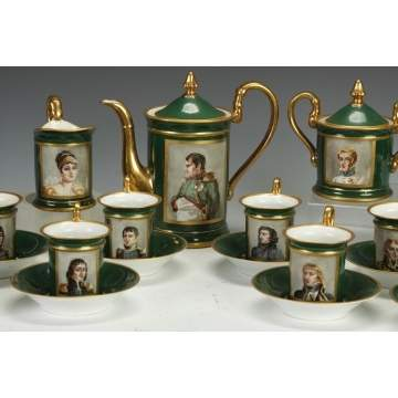 Hand Painted Porcelain Tea Service of Napoleon & His Army