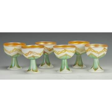 Fine Set of 6 Quezal Footed Sherbets
