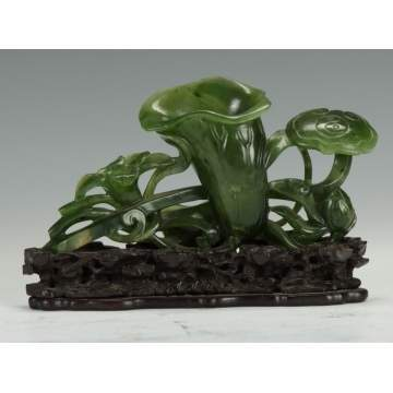 Fine Chinese Spinach Jade Carved Water Lily
