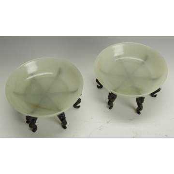 A Fine Pair of Chinese White Jade Shallow Bowls