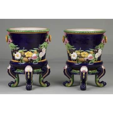 A Pair of Minton Majolica Planters