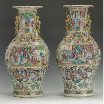 A Pair of 19th Cent. Chinese Export Famille Rose Vases