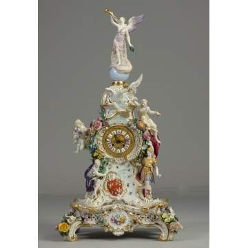 Fine & Rare 19th Cent. Meissen Monumental Figural Shelf Clock