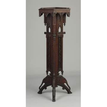 Carved Chinese Export Teakwood Stand