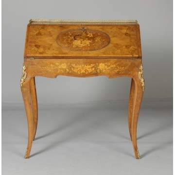 French Marquetry Inlaid Rosewood Ladies Desk